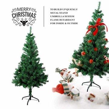 SunJas Weihnachtsbaum, 120/150/180/210 cm Grün, künstlicher Tannenbaum, schwer entflammbar und Kunsttanne mit Metallständer, hochwertiger Christmas tree (180cm) - 2