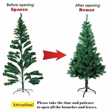 SunJas Weihnachtsbaum, 120/150/180/210 cm Grün, künstlicher Tannenbaum, schwer entflammbar und Kunsttanne mit Metallständer, hochwertiger Christmas tree (180cm) - 6