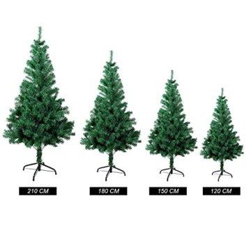 SunJas Weihnachtsbaum, 120/150/180/210 cm Grün, künstlicher Tannenbaum, schwer entflammbar und Kunsttanne mit Metallständer, hochwertiger Christmas tree (180cm) - 8