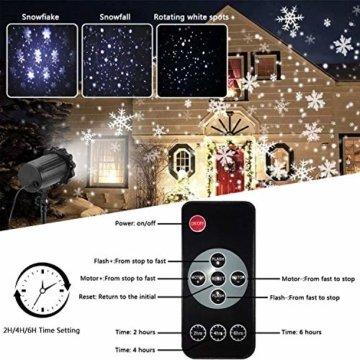 SUPCHON Led Projektor Weihnachten Aussen, Weihnachtsbeleuchtung Außen Led Lampe mit Schneeflocken Beamer, RF Fernbedienung und Timer, IP65, Innen und Außen Weihnachtsdeko Garten - 2