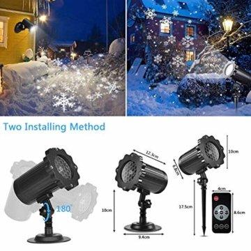 SUPCHON Led Projektor Weihnachten Aussen, Weihnachtsbeleuchtung Außen Led Lampe mit Schneeflocken Beamer, RF Fernbedienung und Timer, IP65, Innen und Außen Weihnachtsdeko Garten - 3