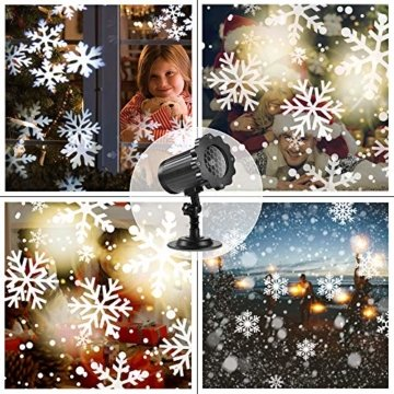 SUPCHON Led Projektor Weihnachten Aussen, Weihnachtsbeleuchtung Außen Led Lampe mit Schneeflocken Beamer, RF Fernbedienung und Timer, IP65, Innen und Außen Weihnachtsdeko Garten - 4