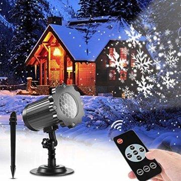 SUPCHON Led Projektor Weihnachten Aussen, Weihnachtsbeleuchtung Außen Led Lampe mit Schneeflocken Beamer, RF Fernbedienung und Timer, IP65, Innen und Außen Weihnachtsdeko Garten - 1