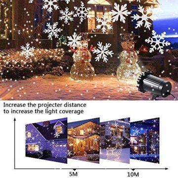 SUPCHON Led Projektor Weihnachten Aussen, Weihnachtsbeleuchtung Außen Led Lampe mit Schneeflocken Beamer, RF Fernbedienung und Timer, IP65, Innen und Außen Weihnachtsdeko Garten - 5