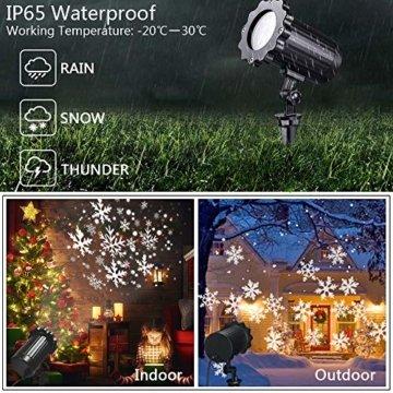 SUPCHON Led Projektor Weihnachten Aussen, Weihnachtsbeleuchtung Außen Led Lampe mit Schneeflocken Beamer, RF Fernbedienung und Timer, IP65, Innen und Außen Weihnachtsdeko Garten - 6