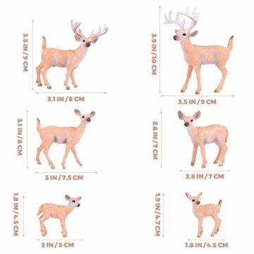 SUPVOX 6pcs White-Tailed Deer Figuren Ornamente Tierfiguren Sammlung Spielzeug Home Office Dekoration Handwerk Geschenk - 2