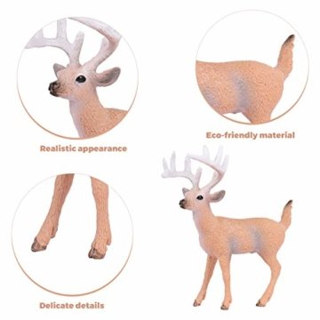 SUPVOX 6pcs White-Tailed Deer Figuren Ornamente Tierfiguren Sammlung Spielzeug Home Office Dekoration Handwerk Geschenk - 3