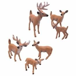SUPVOX 6pcs White-Tailed Deer Figuren Ornamente Tierfiguren Sammlung Spielzeug Home Office Dekoration Handwerk Geschenk - 1