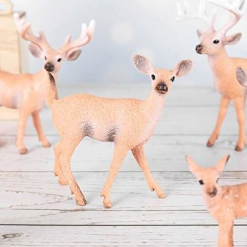 SUPVOX 6pcs White-Tailed Deer Figuren Ornamente Tierfiguren Sammlung Spielzeug Home Office Dekoration Handwerk Geschenk - 4