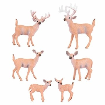 SUPVOX 6pcs White-Tailed Deer Figuren Ornamente Tierfiguren Sammlung Spielzeug Home Office Dekoration Handwerk Geschenk - 7