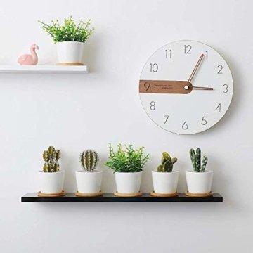 T4U 8cm Keramik Sukkulenten Kaktus Töpfe mit Untersetzer Rund 6er-Set, Klein Blumentopf Weiß für Moos Mini Zimmerpflanzen - 3