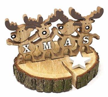 TEMPELWELT Deko Aufsteller Elche Elchreihe X-Mas 26 cm, Holz Natur Weiß, Dekofigur Holzdeko Rentiere Winterdeko Weihnachtsdeko - 2
