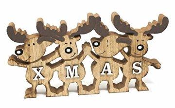 TEMPELWELT Deko Aufsteller Elche Elchreihe X-Mas 26 cm, Holz Natur Weiß, Dekofigur Holzdeko Rentiere Winterdeko Weihnachtsdeko - 1