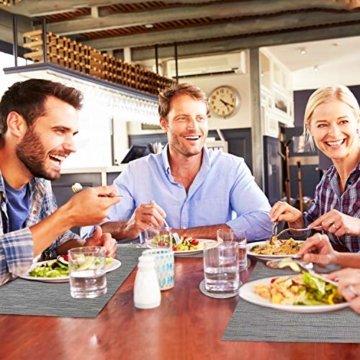 Tencoz Tischset, Platzdeckchen Platzset rutschfest Abwaschbar PVC Abgrifffeste Hitzebeständig Platzdeckchen Set von 4 (44 x 30cm) und Tischläufer 135 und Untersetzer Set von 4 für Küche - Silber Grau - 3