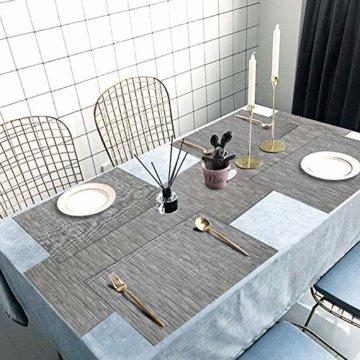 Tencoz Tischset, Platzdeckchen Platzset rutschfest Abwaschbar PVC Abgrifffeste Hitzebeständig Platzdeckchen Set von 4 (44 x 30cm) und Tischläufer 135 und Untersetzer Set von 4 für Küche - Silber Grau - 5