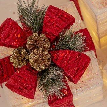 The Christmas Workshop 70749 3er Set beleuchtete Weihnachtsboxen mit roter Schleife | Weihnachtsdekoration für den Innenbereich | 65 warmweiße LED-Lichter | Batteriebetrieben | Timer-Funktion - 2