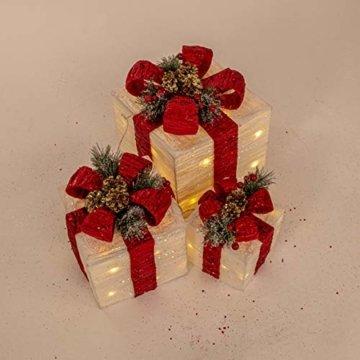 The Christmas Workshop 70749 3er Set beleuchtete Weihnachtsboxen mit roter Schleife | Weihnachtsdekoration für den Innenbereich | 65 warmweiße LED-Lichter | Batteriebetrieben | Timer-Funktion - 11