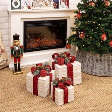The Christmas Workshop 70749 3er Set beleuchtete Weihnachtsboxen mit roter Schleife | Weihnachtsdekoration für den Innenbereich | 65 warmweiße LED-Lichter | Batteriebetrieben | Timer-Funktion - 3