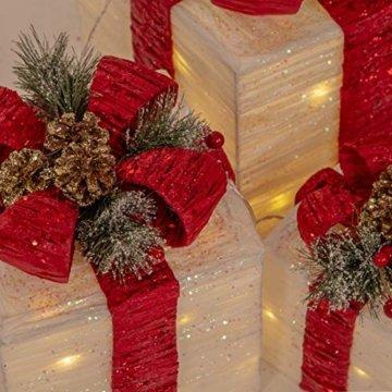 The Christmas Workshop 70749 3er Set beleuchtete Weihnachtsboxen mit roter Schleife | Weihnachtsdekoration für den Innenbereich | 65 warmweiße LED-Lichter | Batteriebetrieben | Timer-Funktion - 4