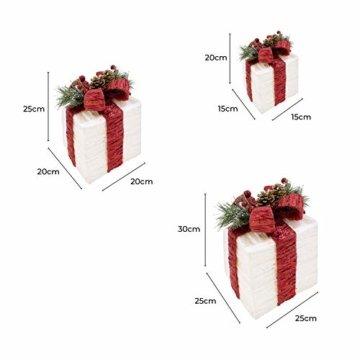 The Christmas Workshop 70749 3er Set beleuchtete Weihnachtsboxen mit roter Schleife | Weihnachtsdekoration für den Innenbereich | 65 warmweiße LED-Lichter | Batteriebetrieben | Timer-Funktion - 5