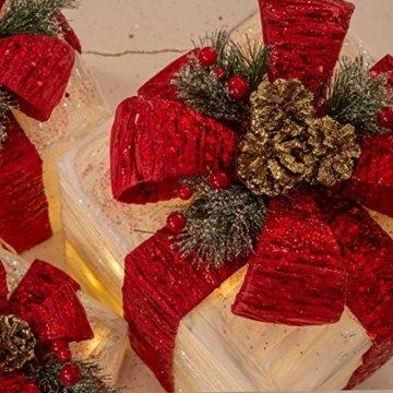 The Christmas Workshop 70749 3er Set beleuchtete Weihnachtsboxen mit roter Schleife | Weihnachtsdekoration für den Innenbereich | 65 warmweiße LED-Lichter | Batteriebetrieben | Timer-Funktion - 6