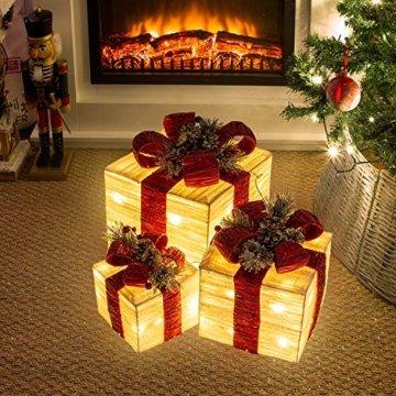 The Christmas Workshop 70749 3er Set beleuchtete Weihnachtsboxen mit roter Schleife | Weihnachtsdekoration für den Innenbereich | 65 warmweiße LED-Lichter | Batteriebetrieben | Timer-Funktion - 7