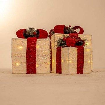 The Christmas Workshop 70749 3er Set beleuchtete Weihnachtsboxen mit roter Schleife | Weihnachtsdekoration für den Innenbereich | 65 warmweiße LED-Lichter | Batteriebetrieben | Timer-Funktion - 8