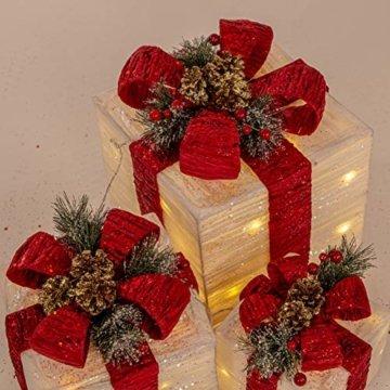 The Christmas Workshop 70749 3er Set beleuchtete Weihnachtsboxen mit roter Schleife | Weihnachtsdekoration für den Innenbereich | 65 warmweiße LED-Lichter | Batteriebetrieben | Timer-Funktion - 9