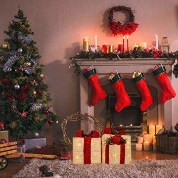 The Christmas Workshop 70749 3er Set beleuchtete Weihnachtsboxen mit roter Schleife | Weihnachtsdekoration für den Innenbereich | 65 warmweiße LED-Lichter | Batteriebetrieben | Timer-Funktion - 10