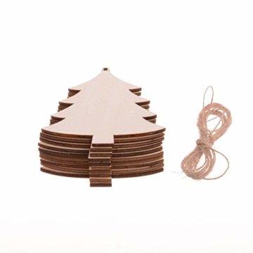 TheStriven 60 Stück DIY Weihnachtsdekoration Holz Scheiben Weihnachtsdeko Holz Anhänger Weihnachtsbaum Schmuck Christbaumschmuck Handwerkliche Verzierungen für Weihnachten Christbaum Schmuck - 5