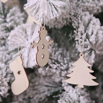 TheStriven 60 Stück DIY Weihnachtsdekoration Holz Scheiben Weihnachtsdeko Holz Anhänger Weihnachtsbaum Schmuck Christbaumschmuck Handwerkliche Verzierungen für Weihnachten Christbaum Schmuck - 6