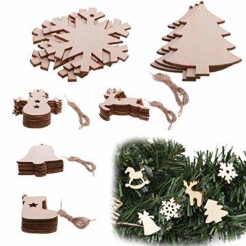 TheStriven 60 Stück DIY Weihnachtsdekoration Holz Scheiben Weihnachtsdeko Holz Anhänger Weihnachtsbaum Schmuck Christbaumschmuck Handwerkliche Verzierungen für Weihnachten Christbaum Schmuck - 7