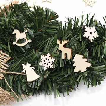 TheStriven 60 Stück DIY Weihnachtsdekoration Holz Scheiben Weihnachtsdeko Holz Anhänger Weihnachtsbaum Schmuck Christbaumschmuck Handwerkliche Verzierungen für Weihnachten Christbaum Schmuck - 8