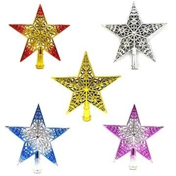 Tinksky Ausgehöhlter Weihnachtsbaum Top Schein Stern Glitzernder hängender Weihnachtsbaum Topper Dekoration Ornamente Wohnkultur (silbrig blau) - 3