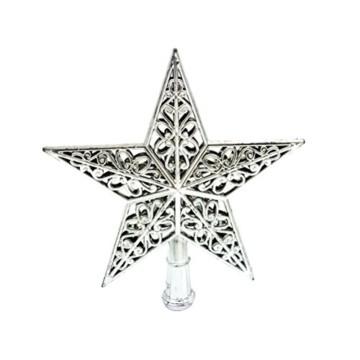 Tinksky Weihnachtsbaumspitze Stern Baumschmuck Glitzernde (Silber) - 1