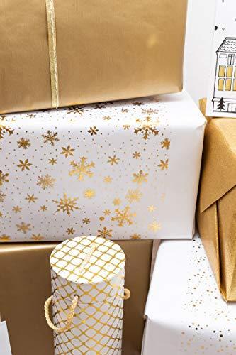 Tischläufer Gold Schneeflocken, Organza, 28 cm x 5 m   Tischband   Tischdeko Weihnachten + Adventszeit   Deko Weihnachtsfeier - 2
