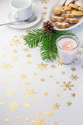 Tischläufer Gold Schneeflocken, Organza, 28 cm x 5 m | Tischband | Tischdeko Weihnachten + Adventszeit | Deko Weihnachtsfeier - 3