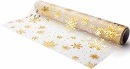 Tischläufer Gold Schneeflocken, Organza, 28 cm x 5 m   Tischband   Tischdeko Weihnachten + Adventszeit   Deko Weihnachtsfeier - 1