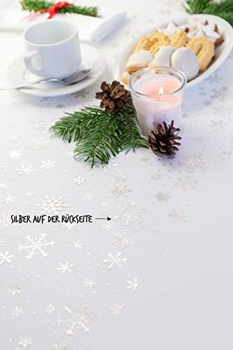 Tischläufer Gold Schneeflocken, Organza, 28 cm x 5 m | Tischband | Tischdeko Weihnachten + Adventszeit | Deko Weihnachtsfeier - 4