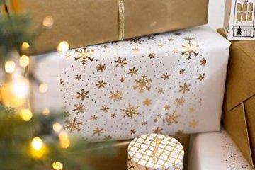 Tischläufer Gold Schneeflocken, Organza, 28 cm x 5 m | Tischband | Tischdeko Weihnachten + Adventszeit | Deko Weihnachtsfeier - 5