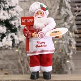 Traditionelle Weihnachtsmann-Figur mit Weihnachtsmann-Motiv, stehend, Weihnachtsdekoration, Weihnachtsmannpuppe für Zuhause, Rucksack, Büro (30 cm, rot) - 1