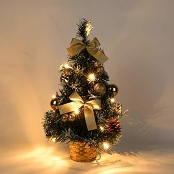 Urmagic Mini LED Weihnachtsbaum klein Künstlicher Tannenbaum mit LED Lichterkette Beleuchtung und Baumschmuck Weihnachtskugeln Künstliche Weihnachtsbäume weihnachts Desktop dekoration - 1