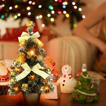 Urmagic Mini LED Weihnachtsbaum klein Künstlicher Tannenbaum mit LED Lichterkette Beleuchtung und Baumschmuck Weihnachtskugeln Künstliche Weihnachtsbäume weihnachts Desktop dekoration - 5