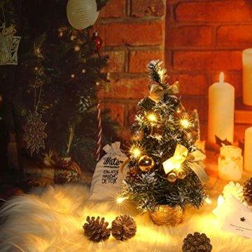 Urmagic Mini LED Weihnachtsbaum klein Künstlicher Tannenbaum mit LED Lichterkette Beleuchtung und Baumschmuck Weihnachtskugeln Künstliche Weihnachtsbäume weihnachts Desktop dekoration - 7