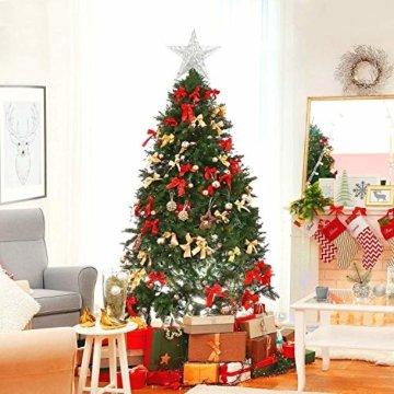 U&X Weihnachtsbaumspitze aus Metall, glitzernd, Weihnachtsbaum-Dekoration, 20,3 cm silber - 2