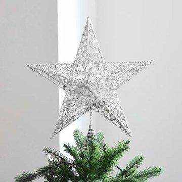 U&X Weihnachtsbaumspitze aus Metall, glitzernd, Weihnachtsbaum-Dekoration, 20,3 cm silber - 3