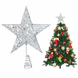 U&X Weihnachtsbaumspitze aus Metall, glitzernd, Weihnachtsbaum-Dekoration, 20,3 cm silber - 1