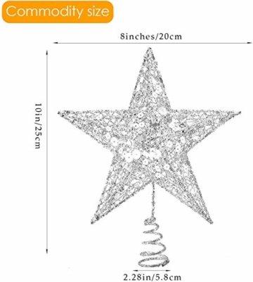 U&X Weihnachtsbaumspitze aus Metall, glitzernd, Weihnachtsbaum-Dekoration, 20,3 cm silber - 4