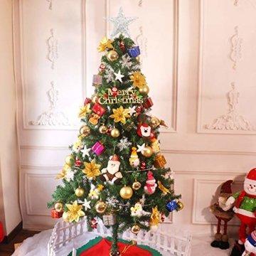 U&X Weihnachtsbaumspitze aus Metall, glitzernd, Weihnachtsbaum-Dekoration, 20,3 cm silber - 5