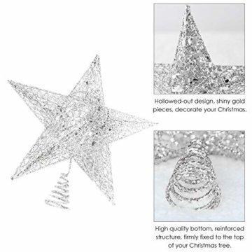 U&X Weihnachtsbaumspitze aus Metall, glitzernd, Weihnachtsbaum-Dekoration, 20,3 cm silber - 6